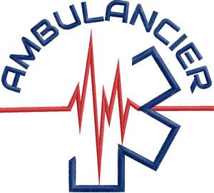 Logo Marine/Rouge AMBULANCIER Fil ECG - Broderie sur Ambu-Promo