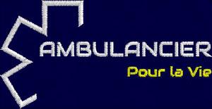 Logo Blanc/Jaune AMBULANCIER POUR LA VIE - Broderie sur Ambu-Promo