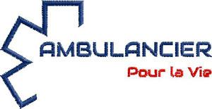 Logo Marine/Rouge AMBULANCIER POUR LA VIE - Broderie sur Ambu-Promo