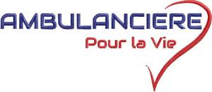 Logo Marine/Rouge AMBULANCIERE COEUR POUR LA VIE - Broderie sur Ambu-Promo