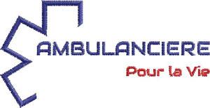Logo Marine/Rouge AMBULANCIERE POUR LA VIE - Broderie sur Ambu-Promo